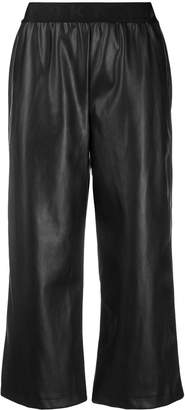 DKNY faux-leather cropped trousers