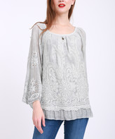 Couture Simply Women's Blouses GREY - Gray Eyelet-Accent Ruffle-Hem Scoop Neck Top - Plus
