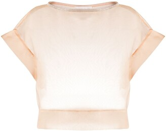 Fabiana Filippi Silk Sheer Cropped Blouse