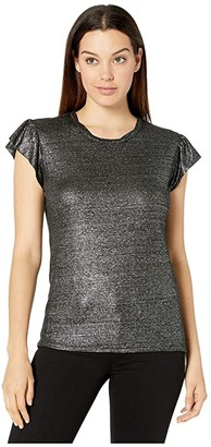 MICHAEL Michael Kors Linen Ruffle Smocked Top (Black/Silver) Women's Clothing