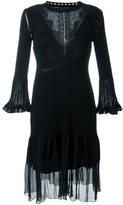 Alberta Ferretti lace insert ribbed dress - women - Polyester/Acetate/Virgin Wool - 42