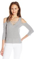 Almost Famous Women's 3/4 Sleeve Lace up Cold Shoulder Top