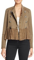 Free People Military Ruffle-Hem Jacket