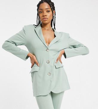 Asos Tall ASOS DESIGN Tall ponte 3-piece power suit blazer in green