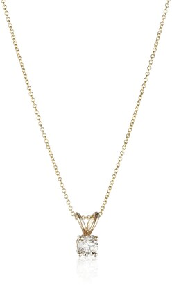 """Amazon Collection 14k Yellow Gold 16"""" Adjustable to 18"""" 4-Prong Set Round-Cut Diamond Pendant (1/3 cttw J-K Color I2-I3 Clarity)"""