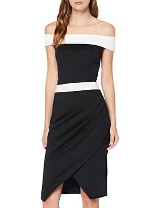 Quiz Women's Black & White Bardot WRAP Skirt Dress Party,(Size:)