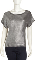 Laundry by Shelli Segal Metallic Short-Sleeve Sweater, Charcoal