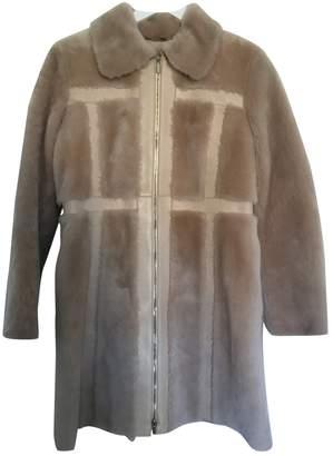 Blumarine Beige Fur Coat for Women