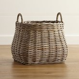 Crate & Barrel Birney Round Grey Rattan Basket