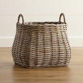 Crate & Barrel Birney Round Grey Rattan Basket