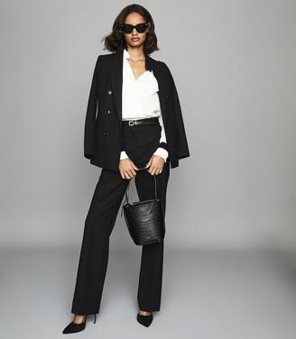 Reiss Hartley Wide Leg - Wide Leg Tailored Trousers in Black