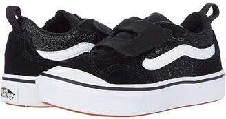 Vans Kids ComfyCush New Skool V (Little Kid) ((Glitter) Black/True White) Girl's Shoes