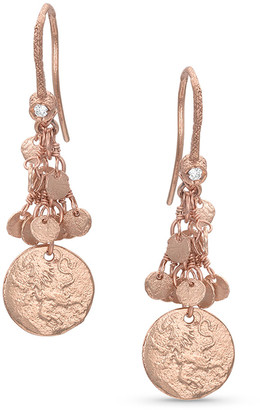 Dominique Cohen 18k Rose Gold Griffin Coin Classic Fringe Earrings