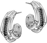 John Hardy Bamboo Silver Lava Small Hoop Earrings with Black Sapphires