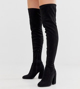 Asos Design DESIGN Wide Fit Wide Leg Korey heeled thigh high boots in black