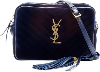 Saint Laurent Lou Medium Monogram Quilted Velvet Crossbody Bag