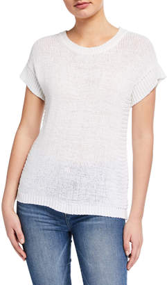 Neiman Marcus Boxy Short-Sleeve Pullover