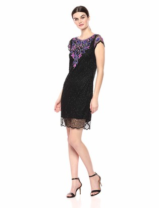 Pisarro Nights Women's Short Beaded Dress with an Illusion Front