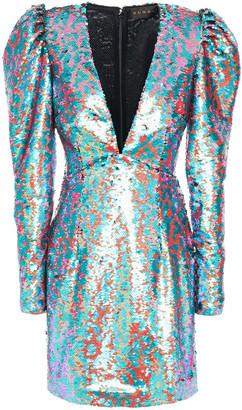 Dundas Gathered Sequined Tulle Mini Dress