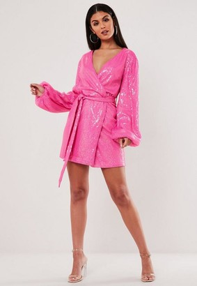 Missguided Pink Sequin Wrap Balloon Sleeve Mini Dress