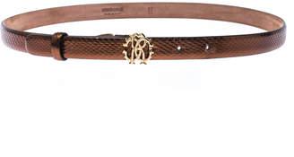 Roberto Cavalli Bronze Metallic Leather RC Buckle Belt 85CM