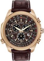 Citizen Eco-Drive Mens Perpetual Calendar Chronograph Brown Strap Watch BL5403-03X