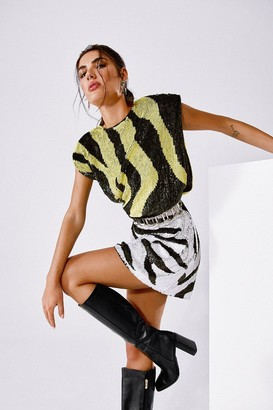 Nasty Gal Womens Sequin or Lose Zebra Mini Dress - Lime