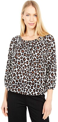 MICHAEL Michael Kors Cat Slub Peasant Top (Caramel) Women's Clothing