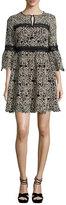 Nanette Lepore 3/4-Sleeve Embroidered Floral Mini Dress, Cream/Black