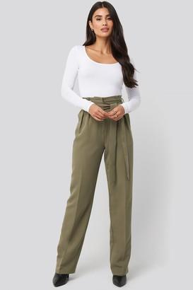 Di Lara Dilara X NA-KD Tie Waist Wide Pants Green