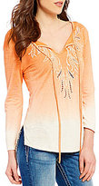 Miss Me Embroidered Ombre Long Sleeve Tie-Front Top