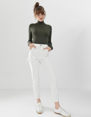 ASOS DESIGN Farleigh high waist slim mom jeans in off white with painter styling