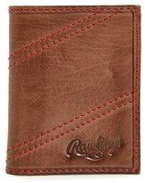 Rawlings Sports Accessories Men's Two Strikes Leather Trifold Wallet - Brown