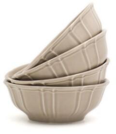 Chloé Euro Ceramica 4 Piece Taupe Cereal Bowl Set