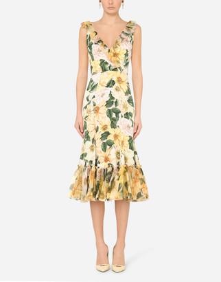 Dolce & Gabbana Camellia-Print Charmeuse And Organza Midi Dress