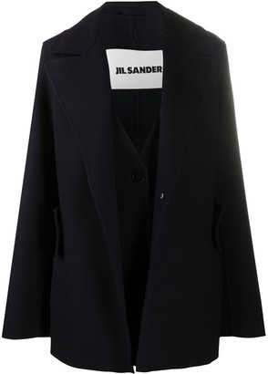 Jil Sander Layered Cashmere Pea Coat