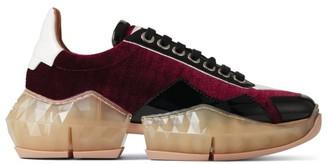 Jimmy Choo Diamond Print Velvet Low-Top Sneakers