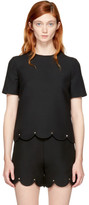 Valentino Black Scalloped Rockstud Blouse