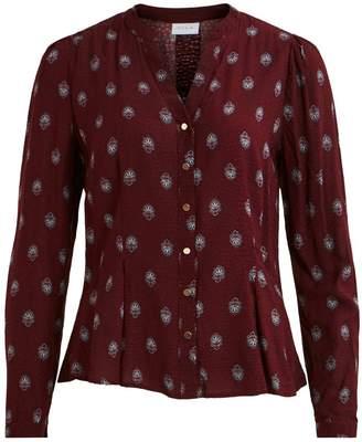 Vila Grandad Collar Printed Blouse with Long Sleeves