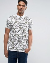 Brave Soul All Over Monkey Print Polo Shirt