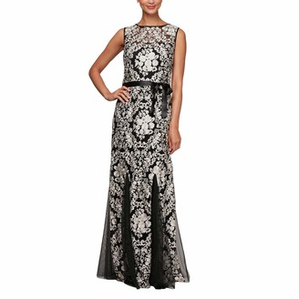 Alex Evenings Women's Embroidered Fit and Flare Gown with Godet Skirt