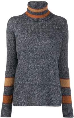 Eleventy stripe-trimmed turtleneck sweater