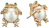 Betsey Johnson Pearl Critters Frog Stud Earrings (Pearl) Earring