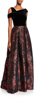 Theia Asymmetrical Velvet Bodice Brocade Skirt A-Line Gown
