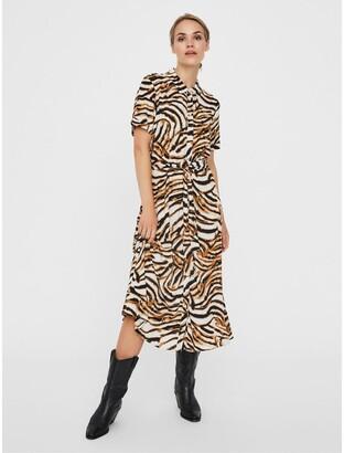Vero Moda Zebra Print Midi Shirt Dress with Short Sleeves