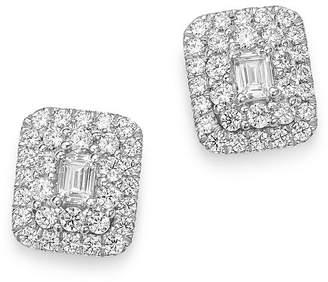 Bloomingdale's Diamond Halo Emerald-Cut Earrings in 14K White Gold, 1.0 ct. t.w. - 100% Exclusive