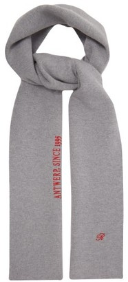 Raf Simons Logo And Text-embroidered Wool-blend Scarf - Grey