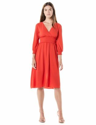 Adrianna Papell Women's Smocked Midi 3/4 Sleeve Dress
