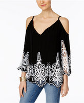 INC International Concepts Petite Lace-Trim Off-The-Shoulder Top, Created for Macy's