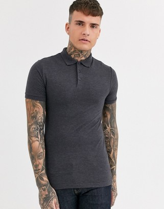Asos Design DESIGN muscle fit pique polo in charcoal marl